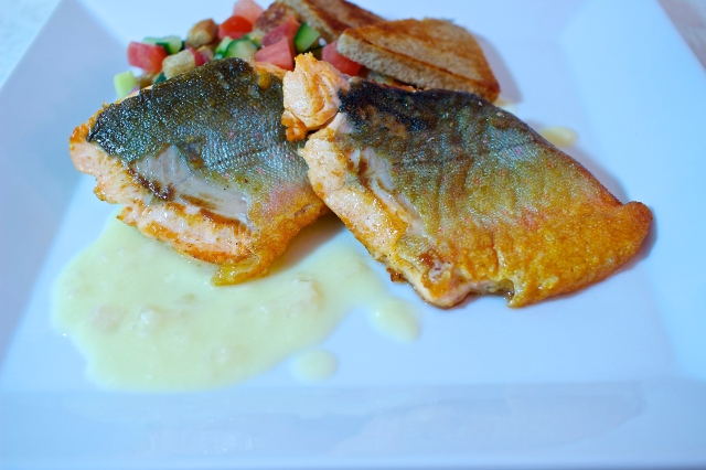 Arctic Char with Panzanella Salad